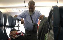 اقدام حیرت انگیز شوهر سالخورده برای خوابیدن همسرش در هواپیما